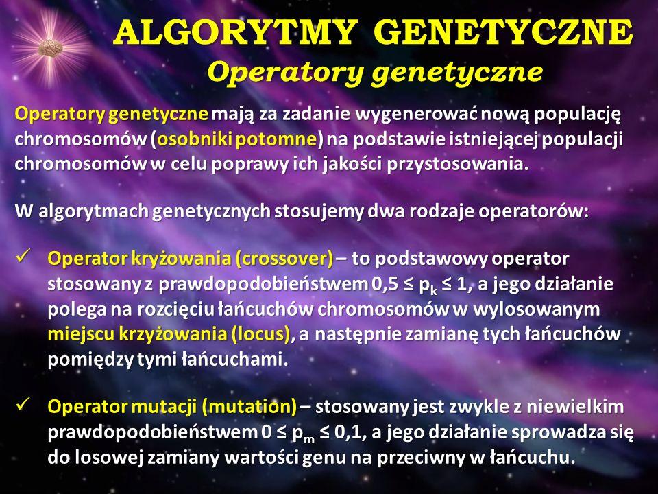 ALGORYTMY GENETYCZNE Operatory genetyczne
