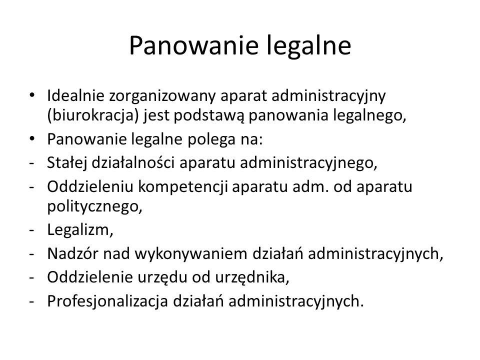 Panowanie legalne Idealnie zorganizowany aparat administracyjny (biurokracja) jest podstawą panowania legalnego,
