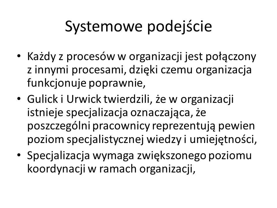 Systemowe podejścieKażdy z procesów w organizacji jest połączony z innymi procesami, dzięki czemu organizacja funkcjonuje poprawnie,