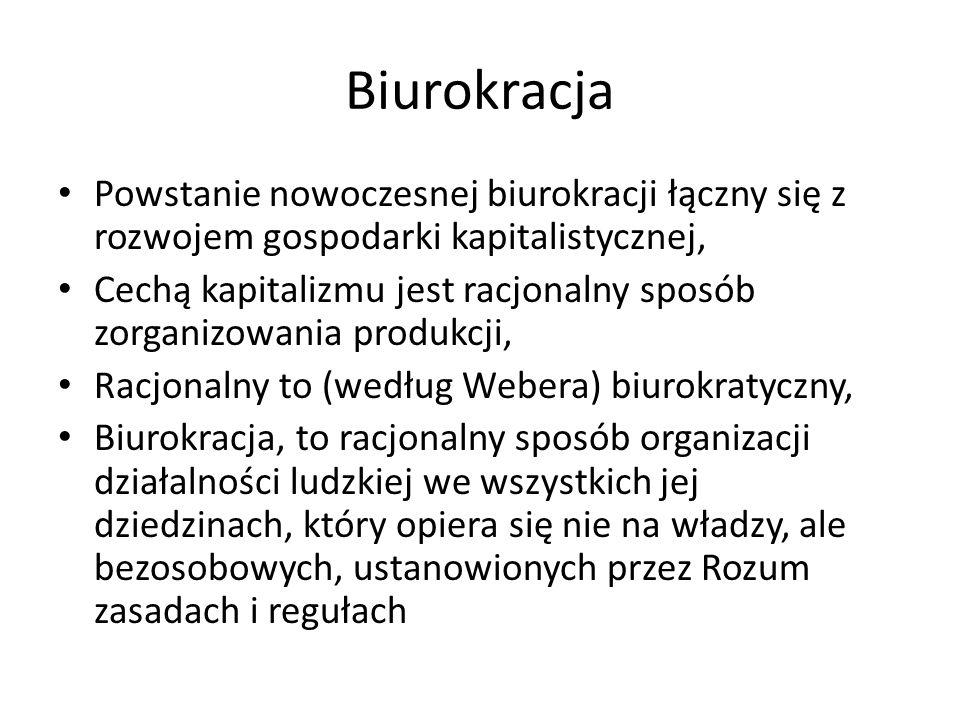 Biurokracja Powstanie nowoczesnej biurokracji łączny się z rozwojem gospodarki kapitalistycznej,