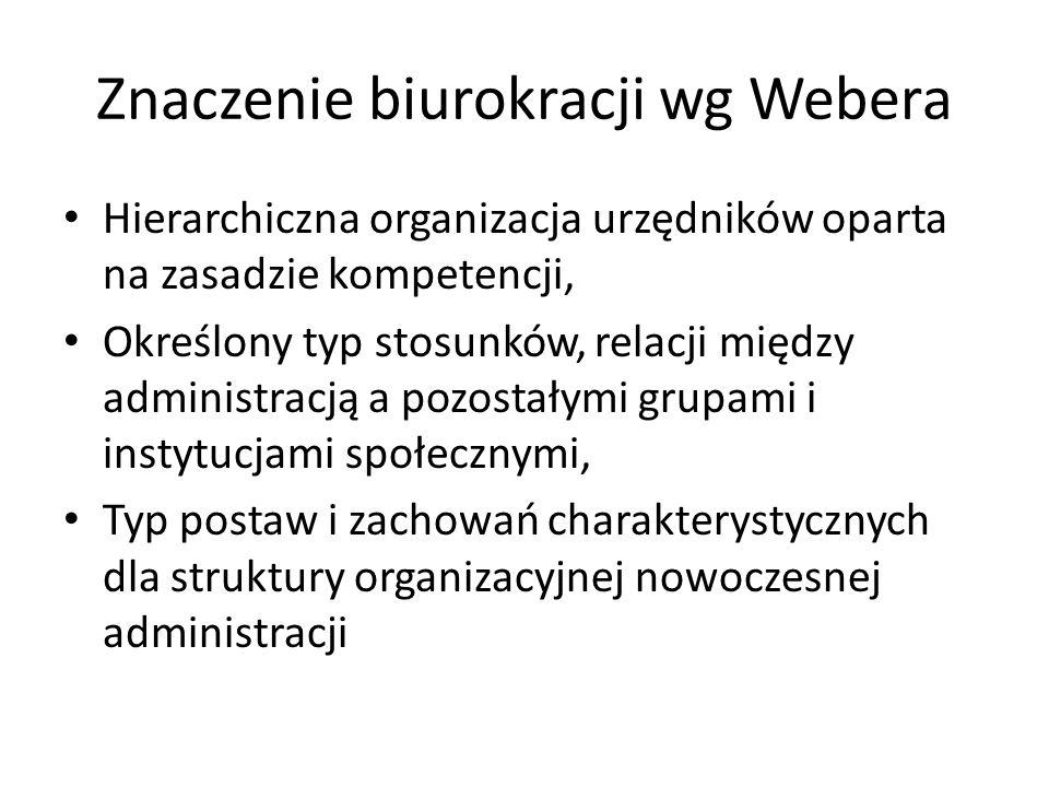 Znaczenie biurokracji wg Webera