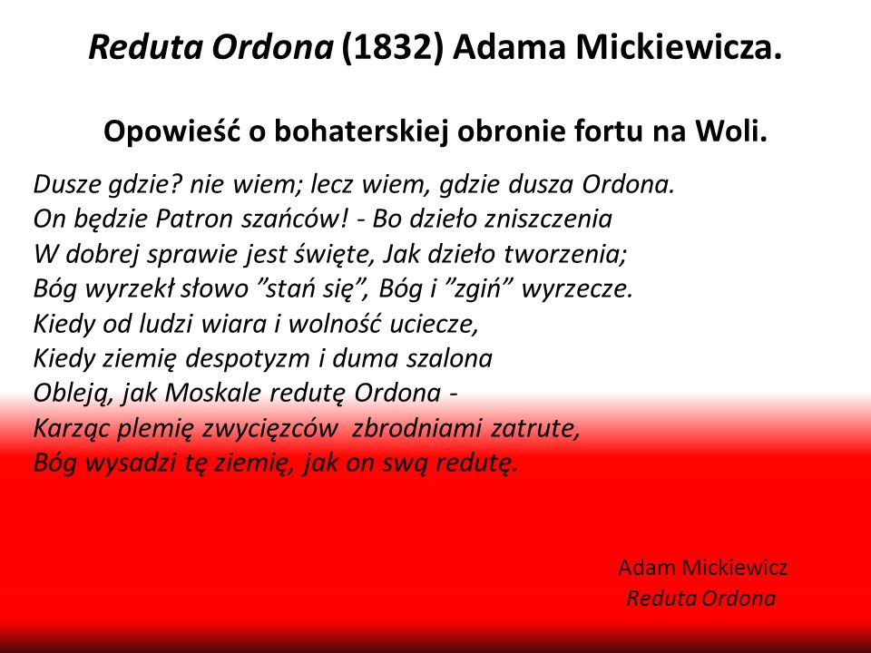 Reduta Ordona (1832) Adama Mickiewicza.