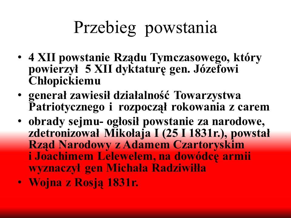 Przebieg powstania 4 XII powstanie Rządu Tymczasowego, który powierzył 5 XII dyktaturę gen. Józefowi Chłopickiemu.
