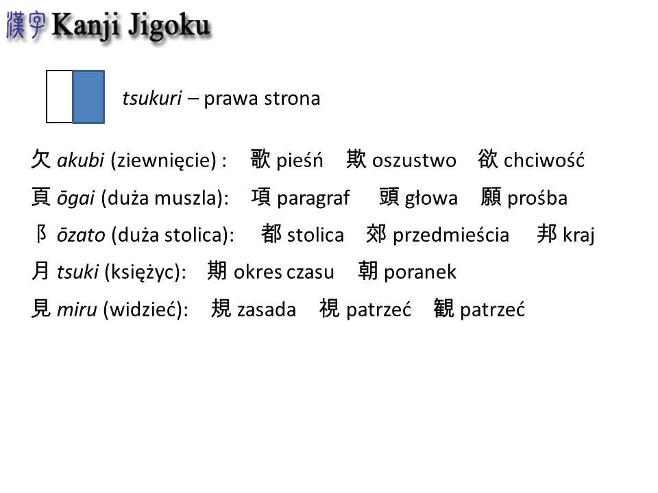 tsukuri – prawa strona 欠 akubi (ziewnięcie) : 歌 pieśń 欺 oszustwo 欲 chciwość. 頁 ōgai (duża muszla): 項 paragraf 頭 głowa 願 prośba.