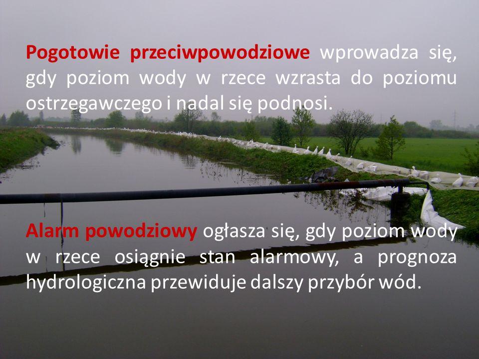 Pogotowie przeciwpowodziowe wprowadza się, gdy poziom wody w rzece wzrasta do poziomu ostrzegawczego i nadal się podnosi.