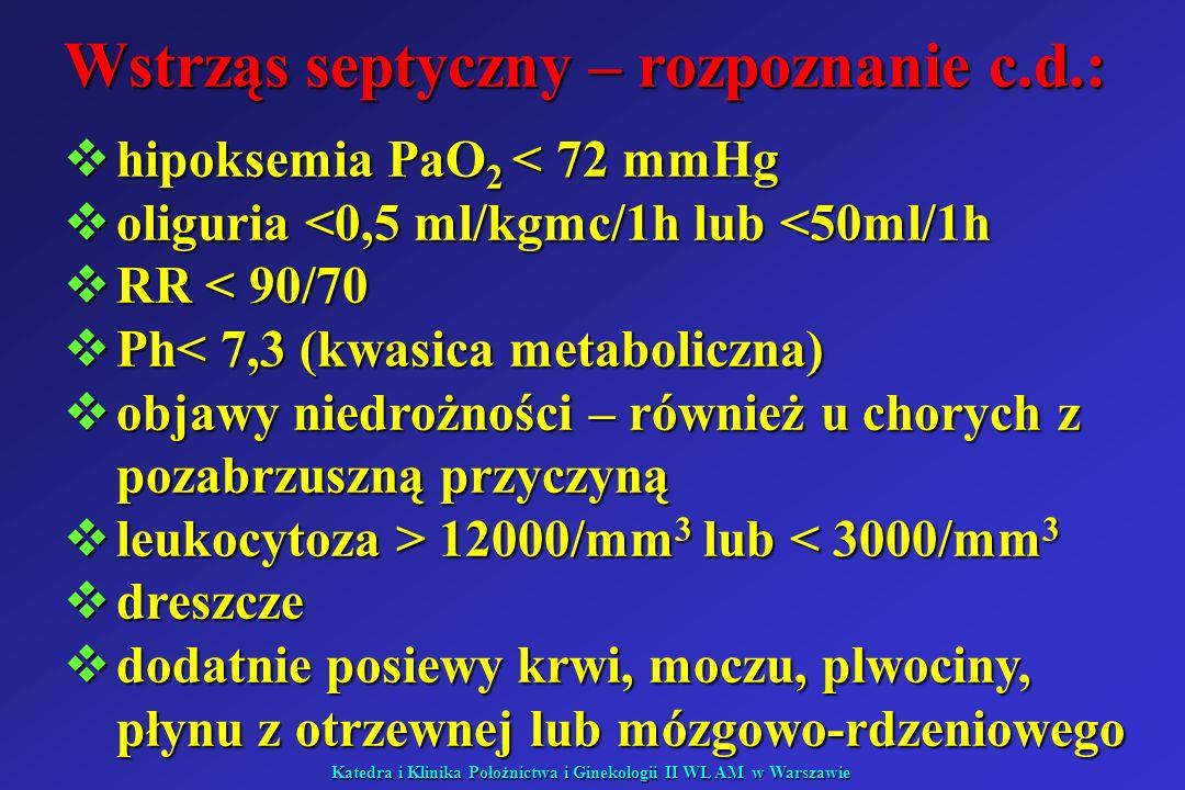 Wstrząs septyczny – rozpoznanie c.d.: