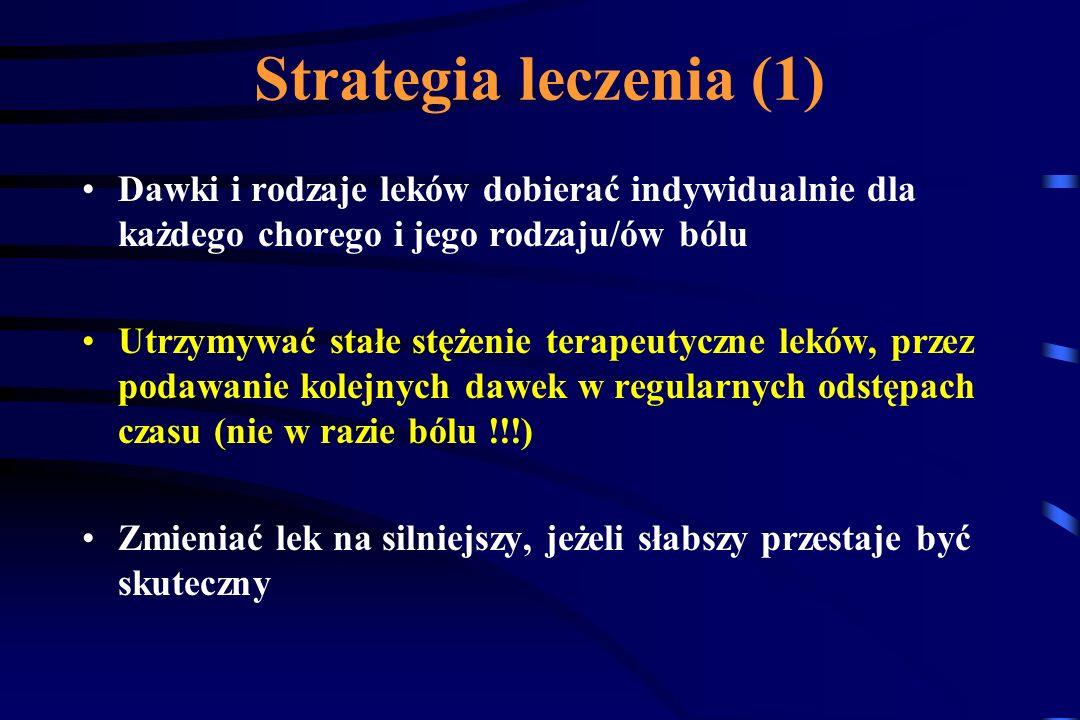 Strategia leczenia (1) Dawki i rodzaje leków dobierać indywidualnie dla każdego chorego i jego rodzaju/ów bólu.