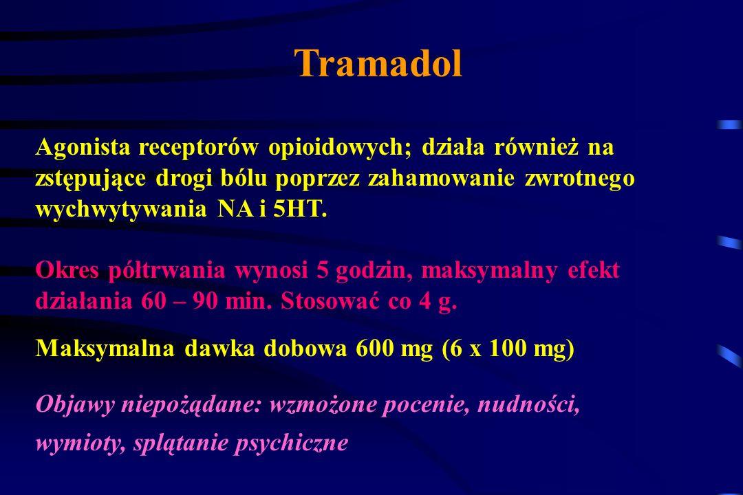 Tramadol Agonista receptorów opioidowych; działa również na
