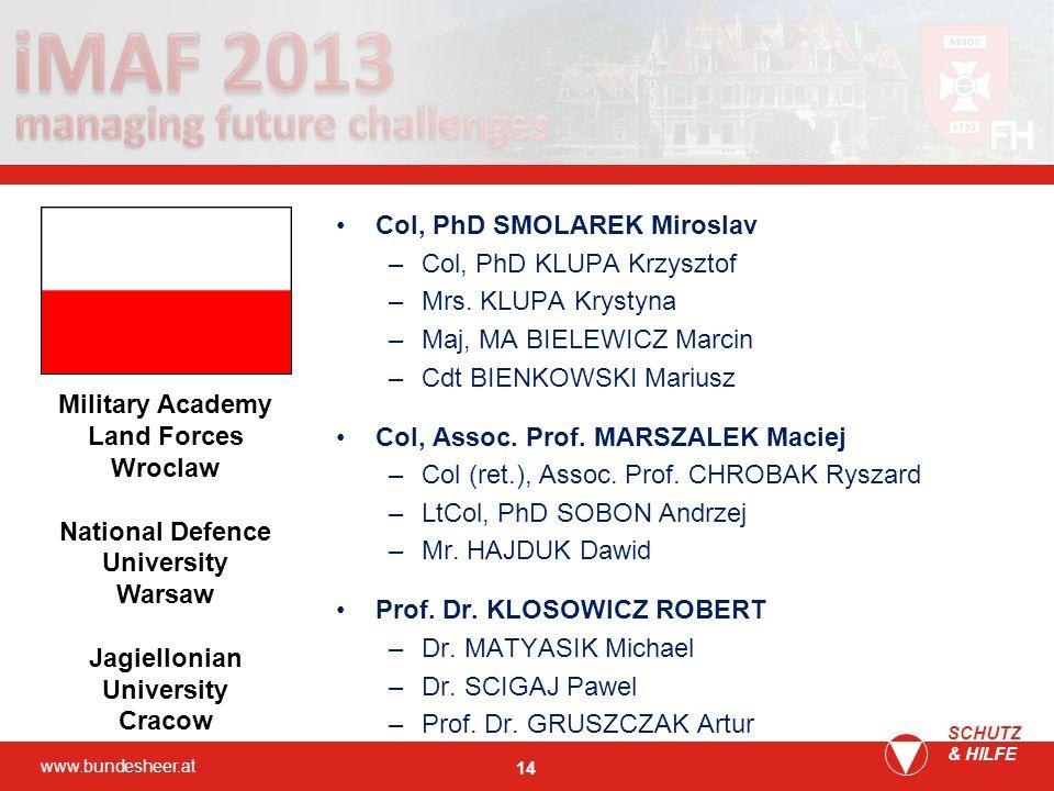 Col, PhD SMOLAREK Miroslav Col, PhD KLUPA Krzysztof