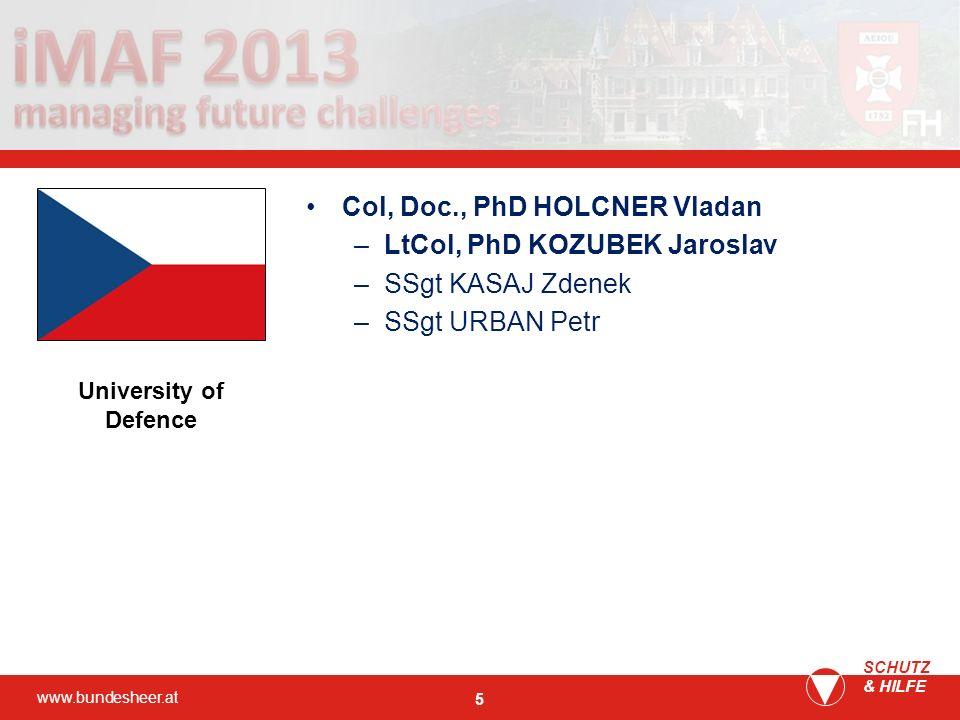 Col, Doc., PhD HOLCNER Vladan LtCol, PhD KOZUBEK Jaroslav