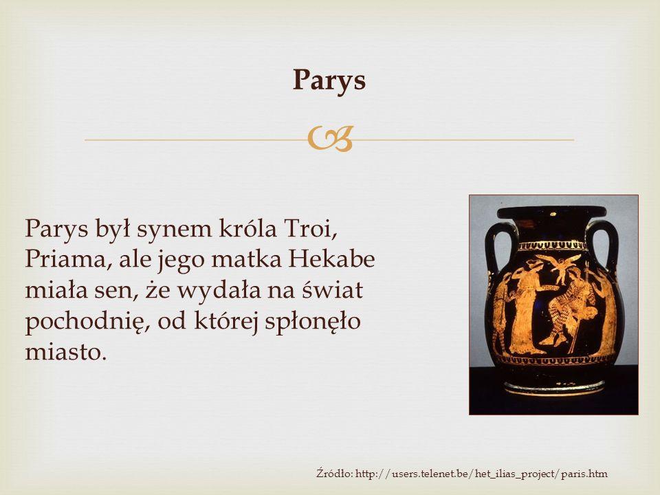 Parys Parys był synem króla Troi, Priama, ale jego matka Hekabe miała sen, że wydała na świat pochodnię, od której spłonęło miasto.