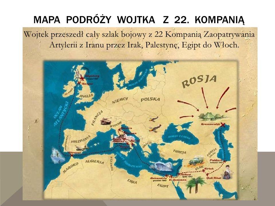 mapa podróży Wojtka z 22. kompanią
