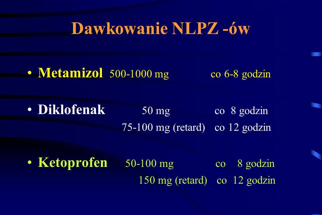 Dawkowanie NLPZ -ów Metamizol 500-1000 mg co 6-8 godzin