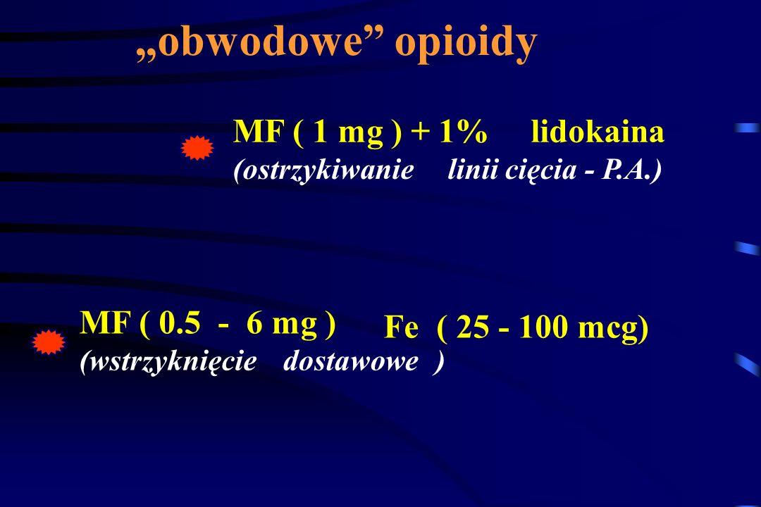 """obwodowe opioidy MF ( 1 mg ) + 1% lidokaina MF ( 0.5 - 6 mg )"