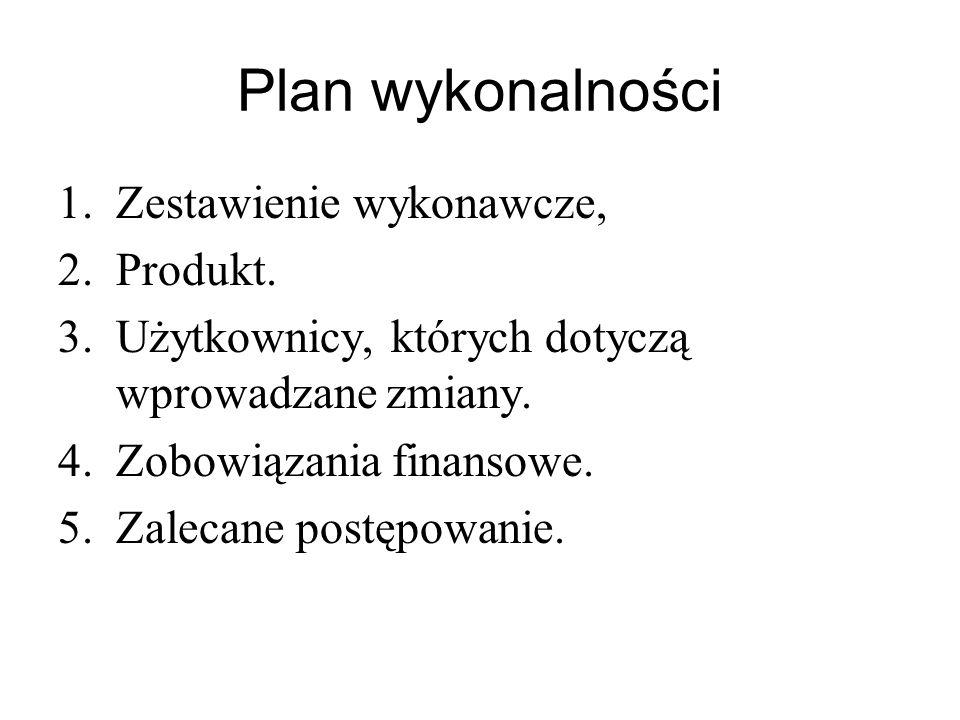 Plan wykonalności Zestawienie wykonawcze, Produkt.
