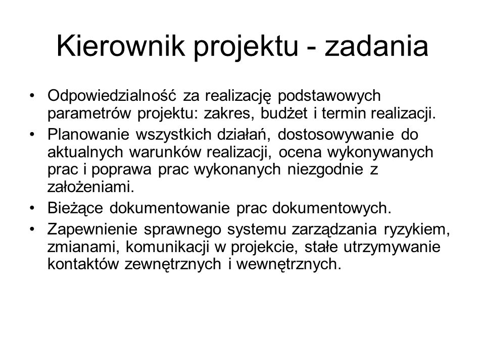 Kierownik projektu - zadania