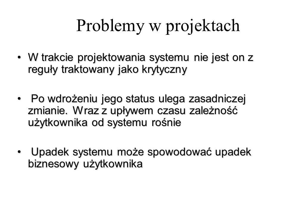 Problemy w projektach W trakcie projektowania systemu nie jest on z reguły traktowany jako krytyczny.