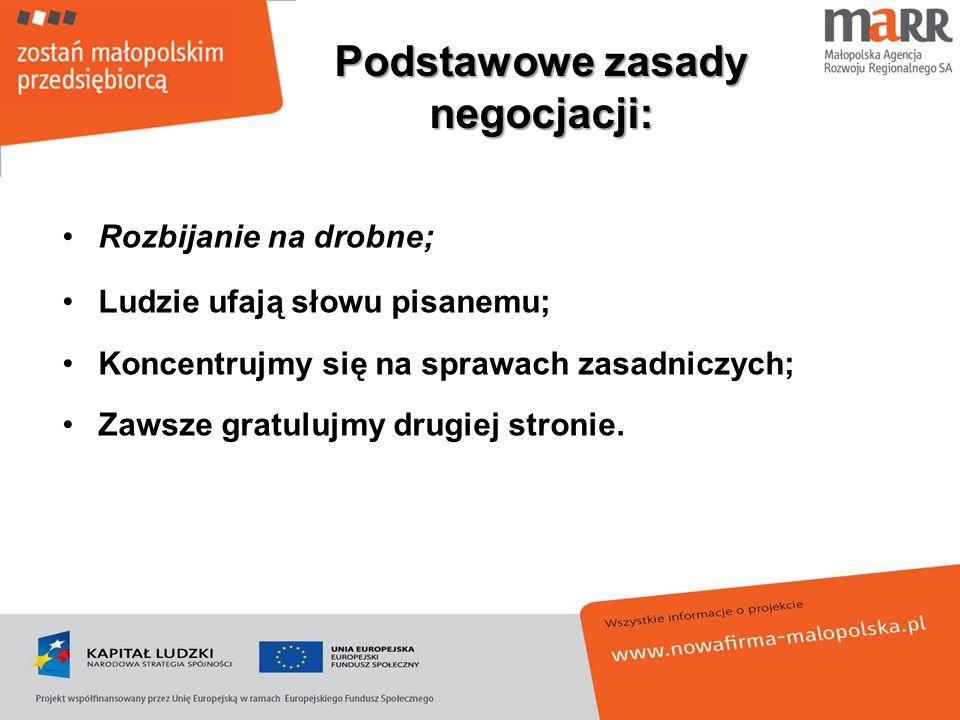 Podstawowe zasady negocjacji: