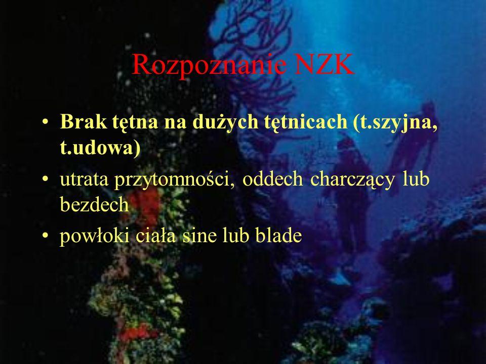 Rozpoznanie NZK Brak tętna na dużych tętnicach (t.szyjna, t.udowa)