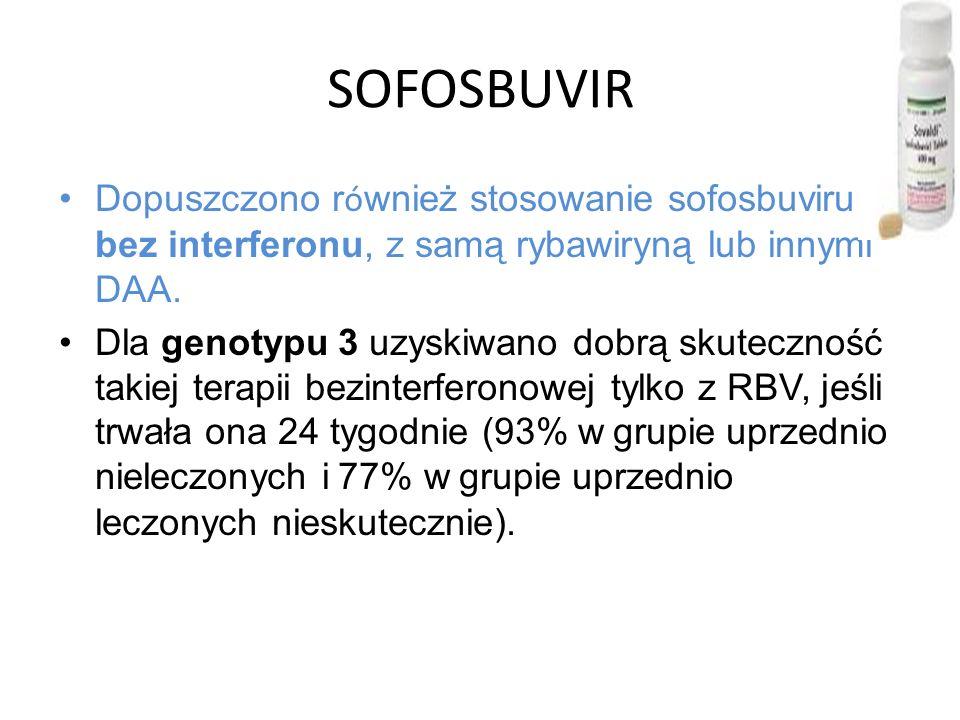 SOFOSBUVIR Dopuszczono również stosowanie sofosbuviru bez interferonu, z samą rybawiryną lub innymi DAA.