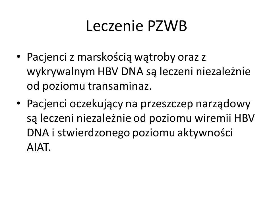 Leczenie PZWB Pacjenci z marskością wątroby oraz z wykrywalnym HBV DNA są leczeni niezależnie od poziomu transaminaz.