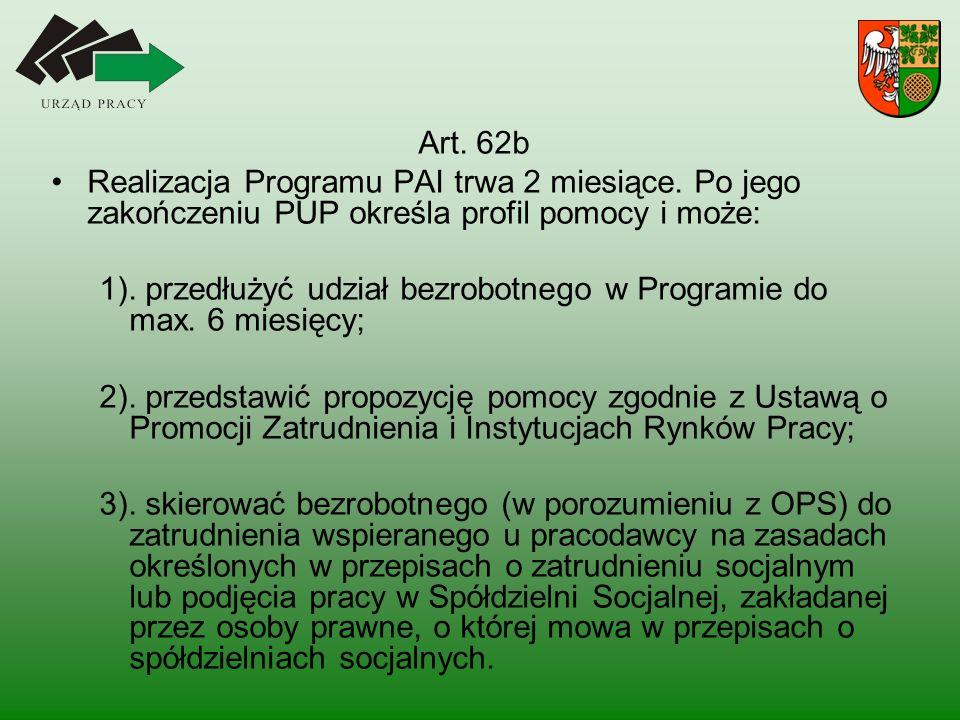 Art. 62b Realizacja Programu PAI trwa 2 miesiące. Po jego zakończeniu PUP określa profil pomocy i może: