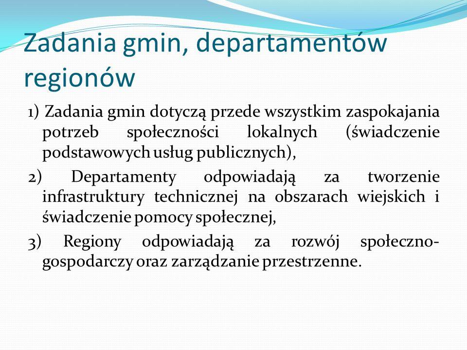 Zadania gmin, departamentów regionów