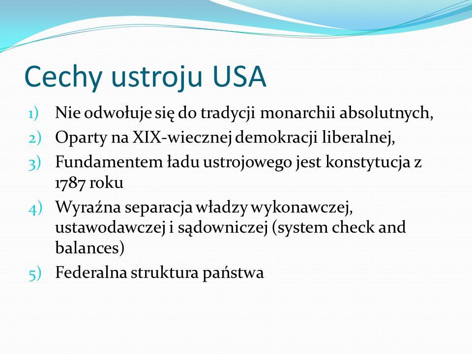 Cechy ustroju USA Nie odwołuje się do tradycji monarchii absolutnych,