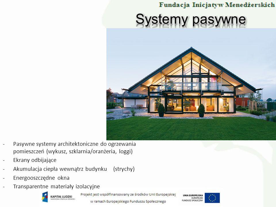 Systemy pasywne Pasywne systemy architektoniczne do ogrzewania pomieszczeń (wykusz, szklarnia/oranżeria, loggi)