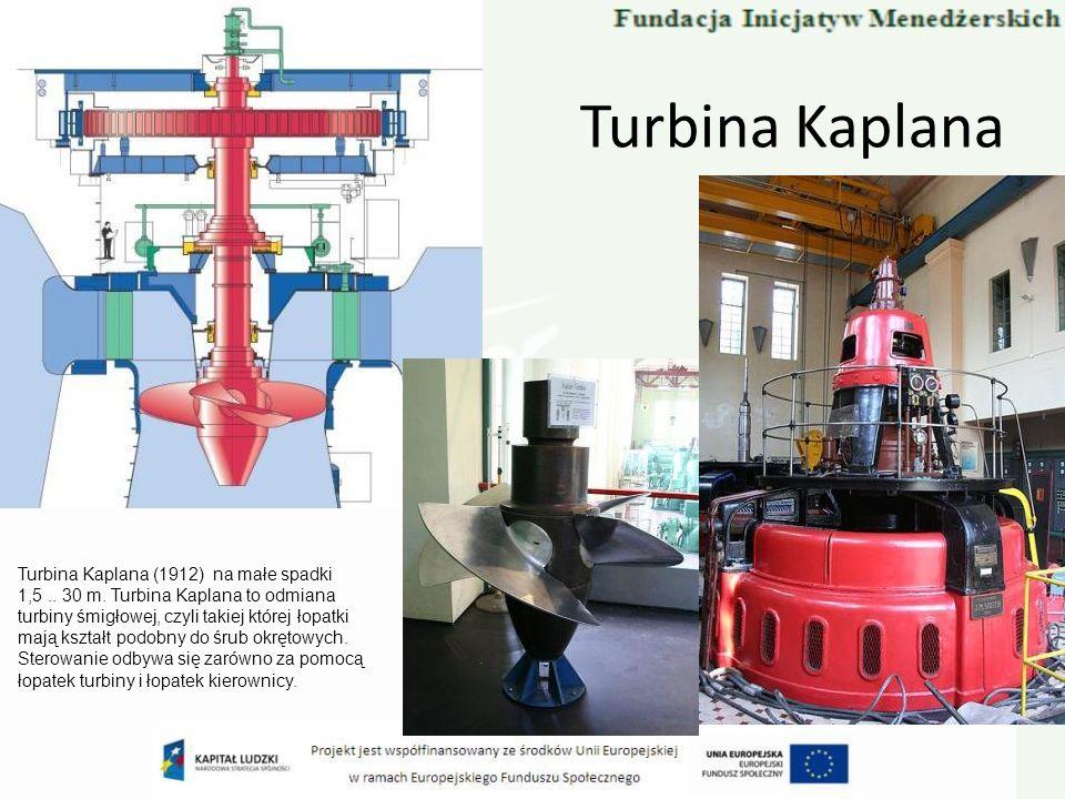 Turbina Kaplana Turbina Kaplana (1912) na małe spadki 1,5 .. 30 m. Turbina Kaplana to odmiana. turbiny śmigłowej, czyli takiej której łopatki.