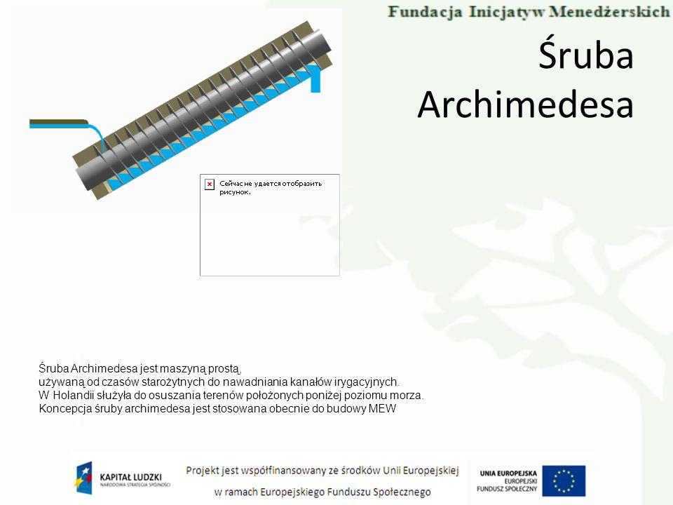 Śruba Archimedesa Śruba Archimedesa jest maszyną prostą,
