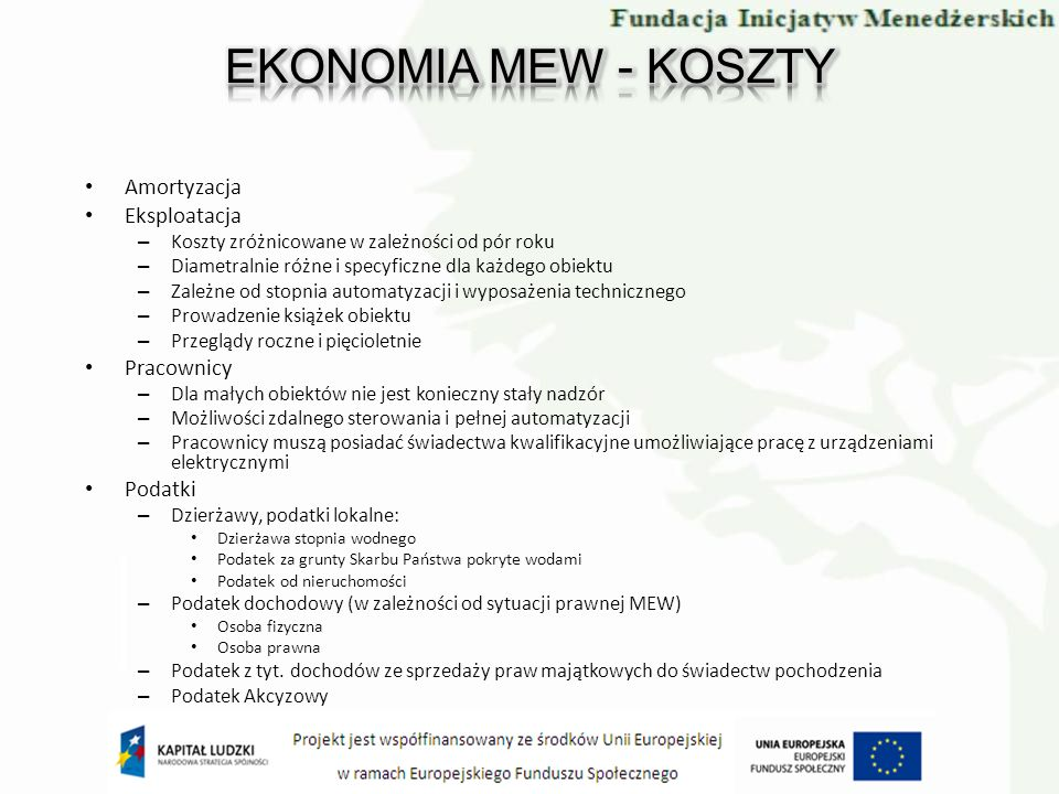 EKONOMIA MEW - KOSZTY Amortyzacja Eksploatacja Pracownicy Podatki
