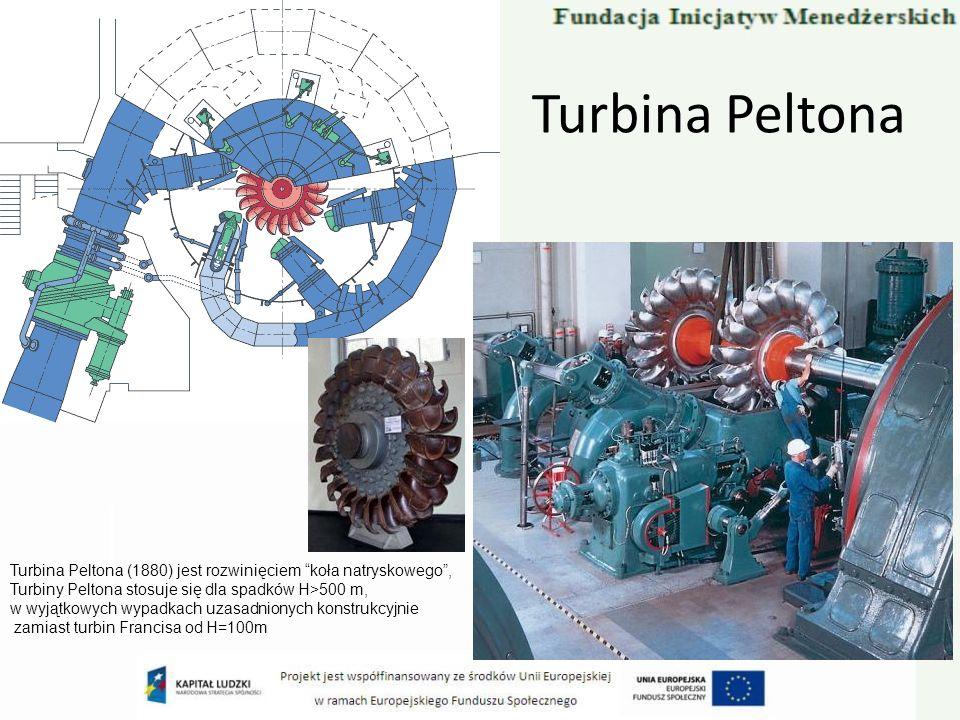 Turbina PeltonaTurbina Peltona (1880) jest rozwinięciem koła natryskowego , Turbiny Peltona stosuje się dla spadków H>500 m,