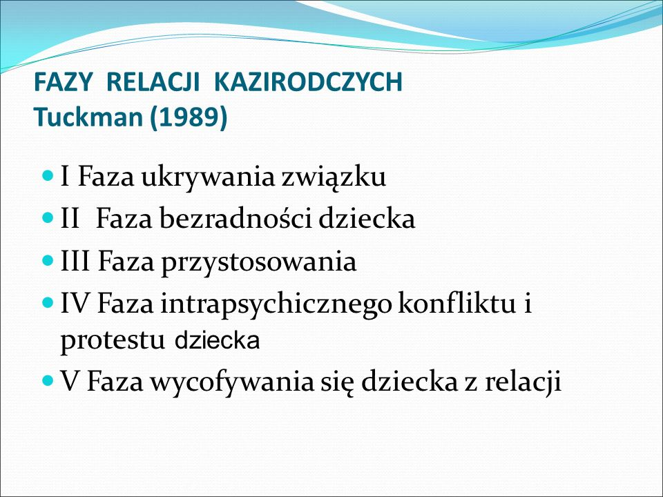 FAZY RELACJI KAZIRODCZYCH Tuckman (1989)