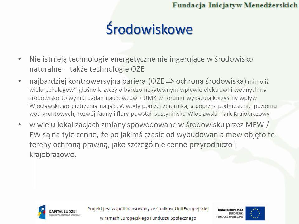 Środowiskowe Nie istnieją technologie energetyczne nie ingerujące w środowisko naturalne – także technologie OZE.
