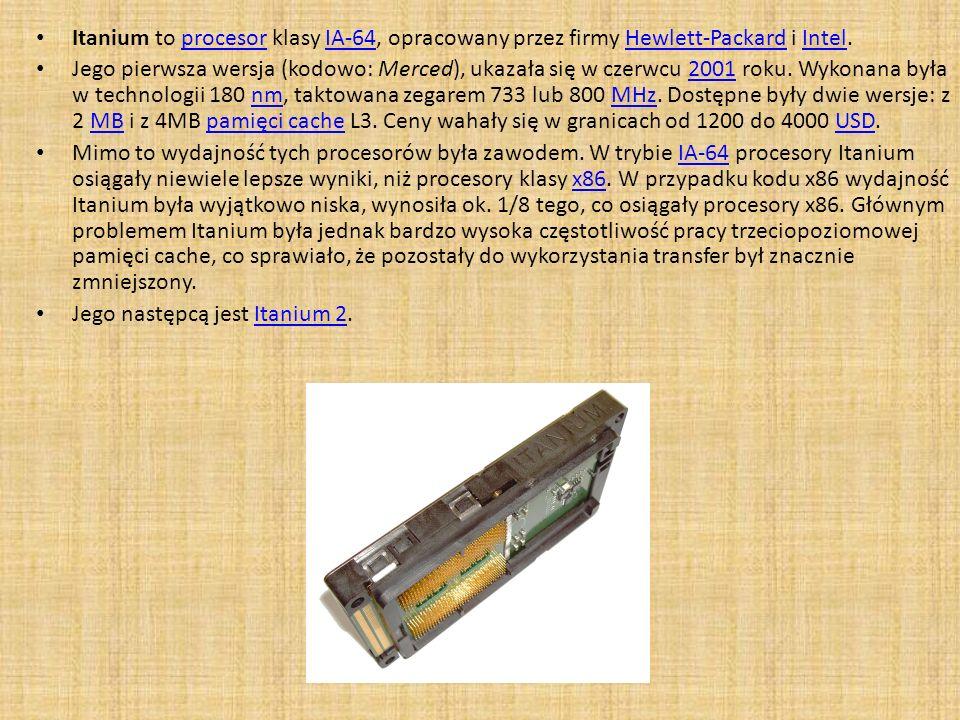 Itanium to procesor klasy IA-64, opracowany przez firmy Hewlett-Packard i Intel.