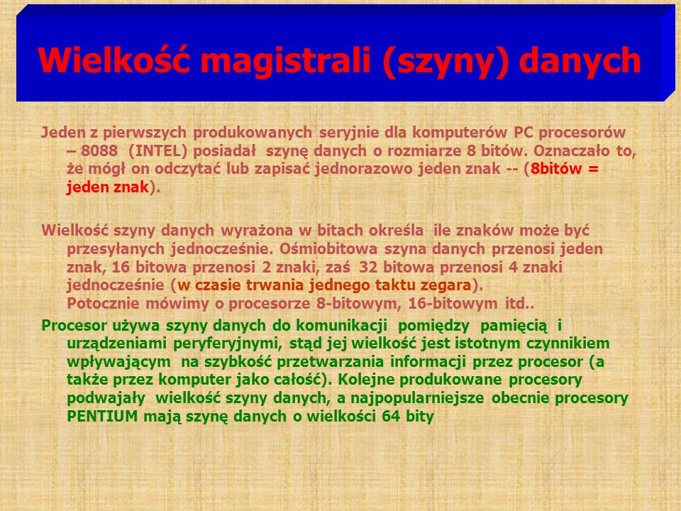 Wielkość magistrali (szyny) danych