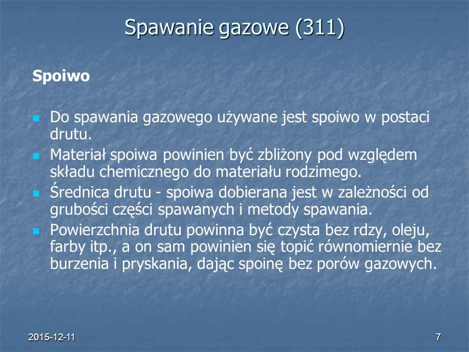 Spawanie gazowe (311) Spoiwo
