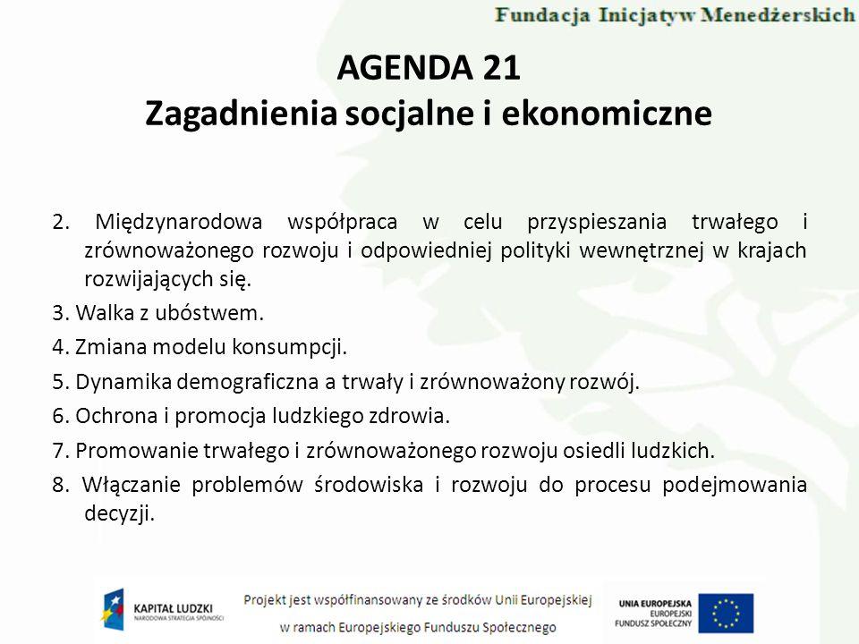AGENDA 21 Zagadnienia socjalne i ekonomiczne