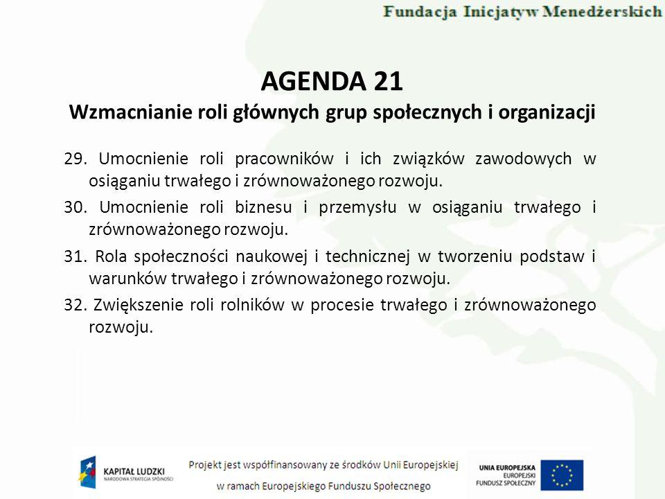 AGENDA 21 Wzmacnianie roli głównych grup społecznych i organizacji