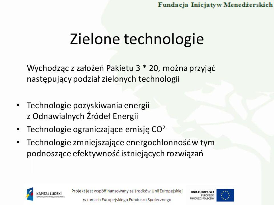 Zielone technologie Wychodząc z założeń Pakietu 3 * 20, można przyjąć następujący podział zielonych technologii.