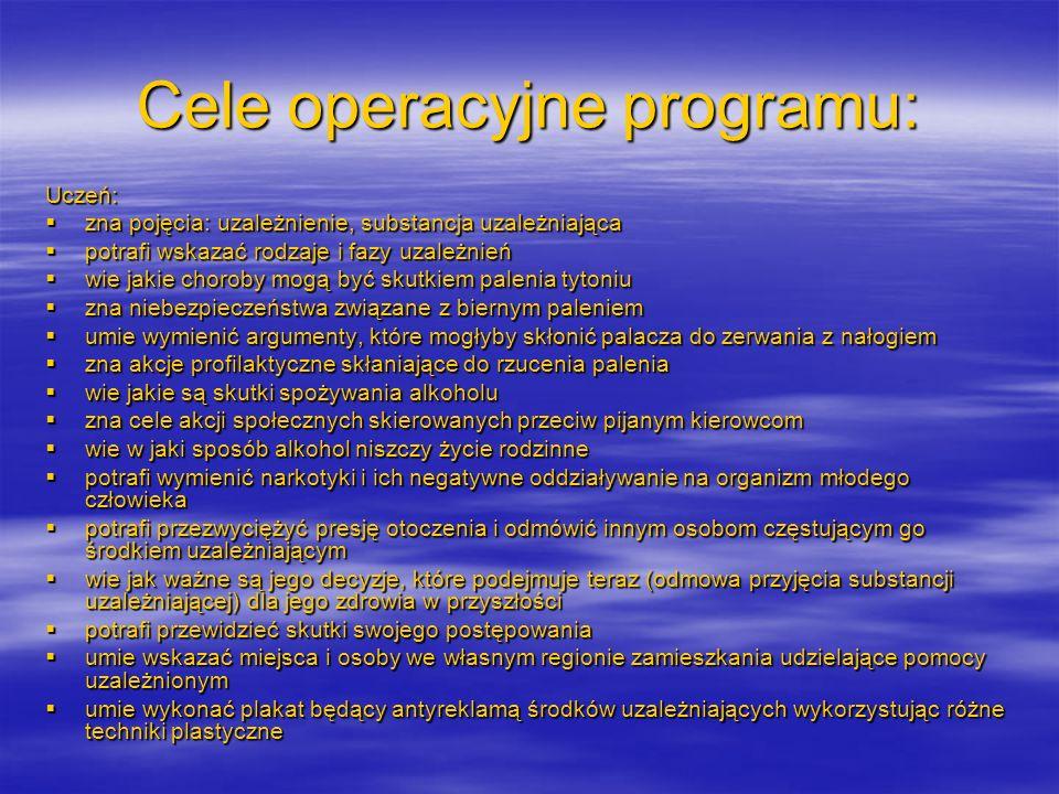 Cele operacyjne programu: