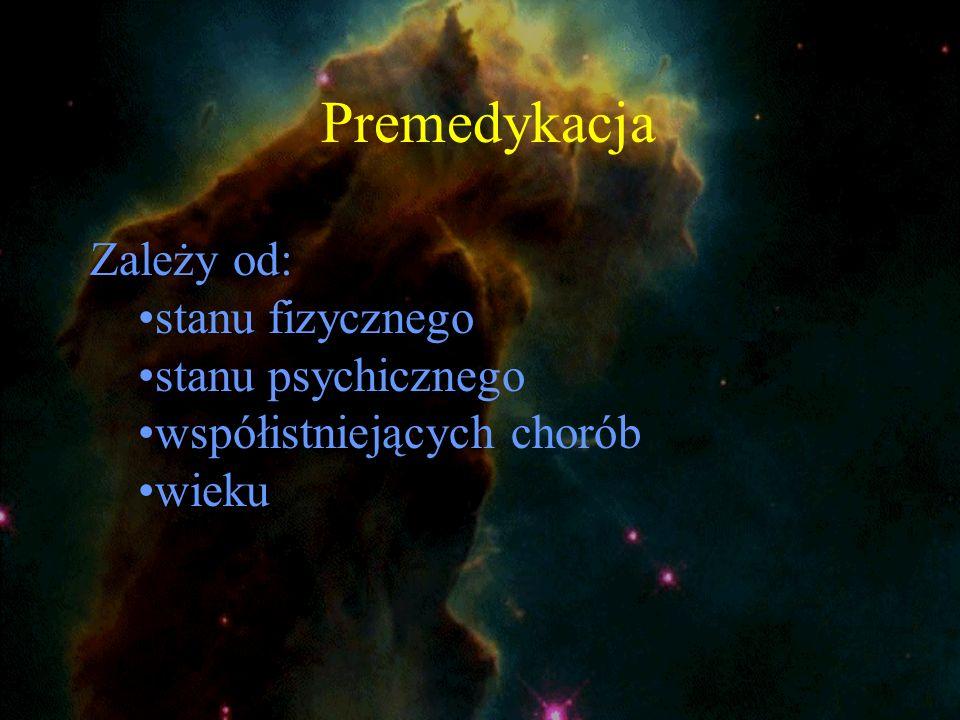 Premedykacja Zależy od: stanu fizycznego stanu psychicznego