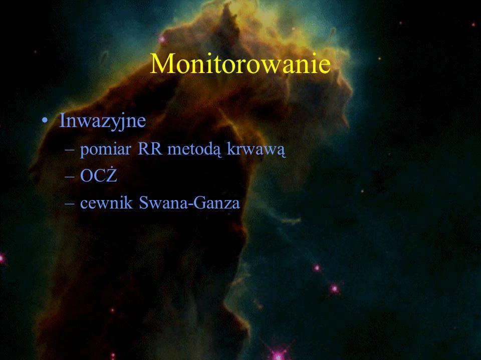 Monitorowanie Inwazyjne pomiar RR metodą krwawą OCŻ cewnik Swana-Ganza