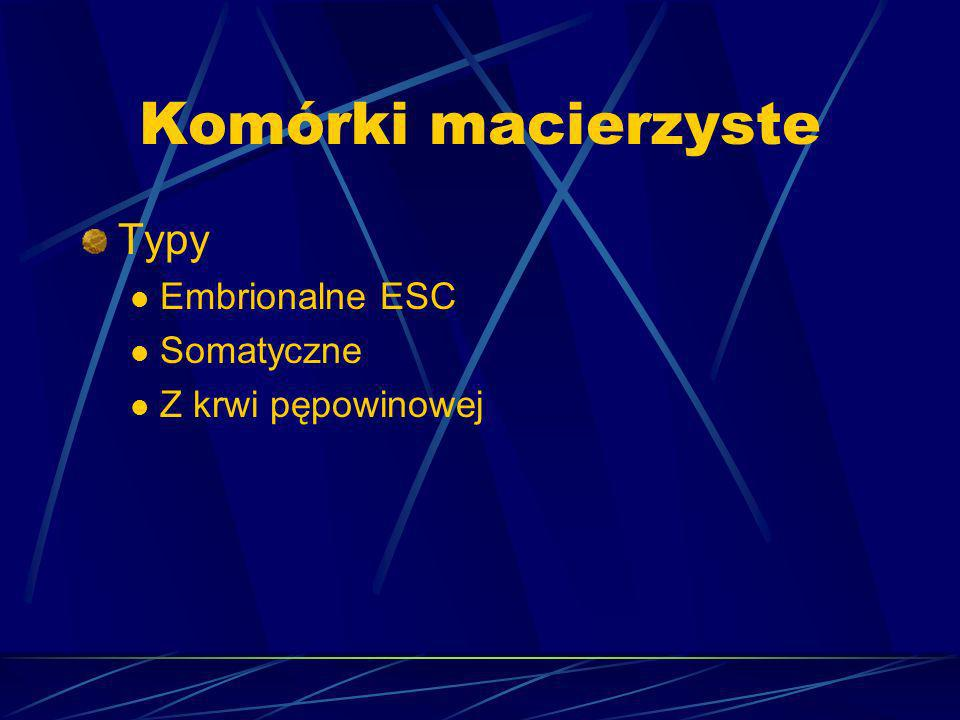 Komórki macierzyste Typy Embrionalne ESC Somatyczne Z krwi pępowinowej