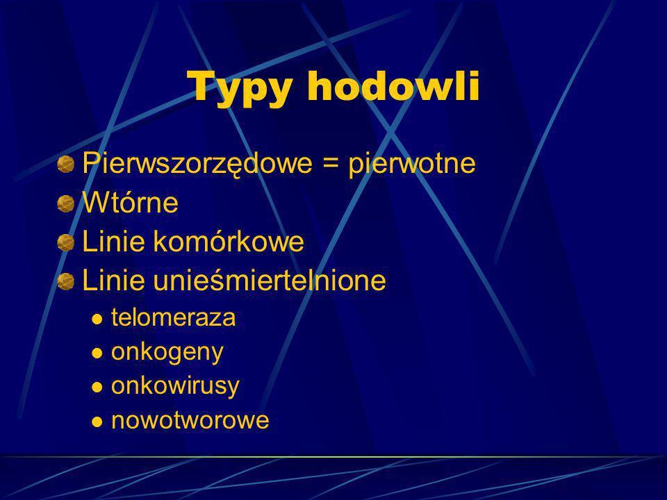Typy hodowli Pierwszorzędowe = pierwotne Wtórne Linie komórkowe