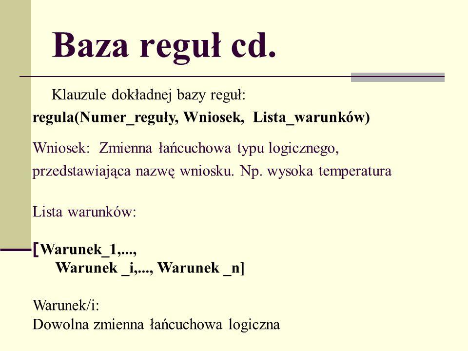 Baza reguł cd. Klauzule dokładnej bazy reguł: