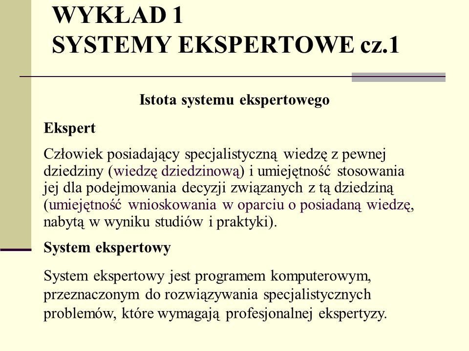 WYKŁAD 1 SYSTEMY EKSPERTOWE cz.1