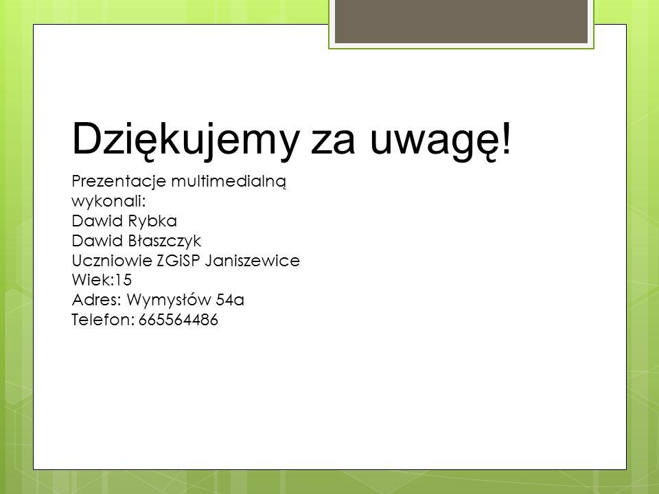Dziękujemy za uwagę! Prezentacje multimedialną wykonali: Dawid Rybka