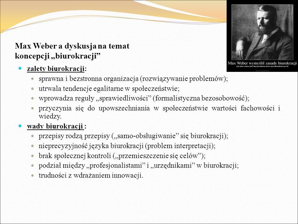 "Max Weber a dyskusja na temat koncepcji ""biurokracji"